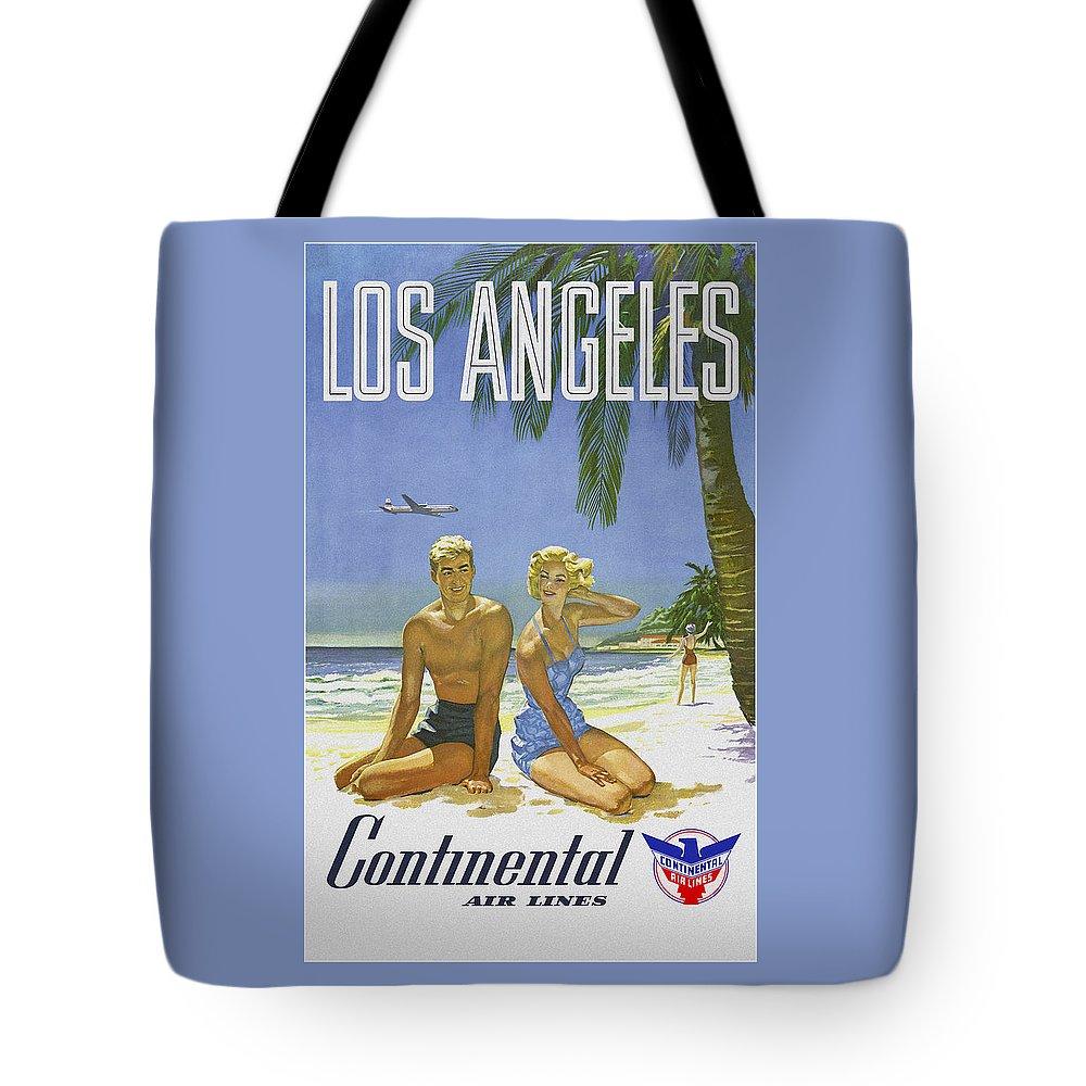 'los Angeles Tote Bag featuring the digital art Vintage Los Angeles Travel Poster by Joy McKenzie
