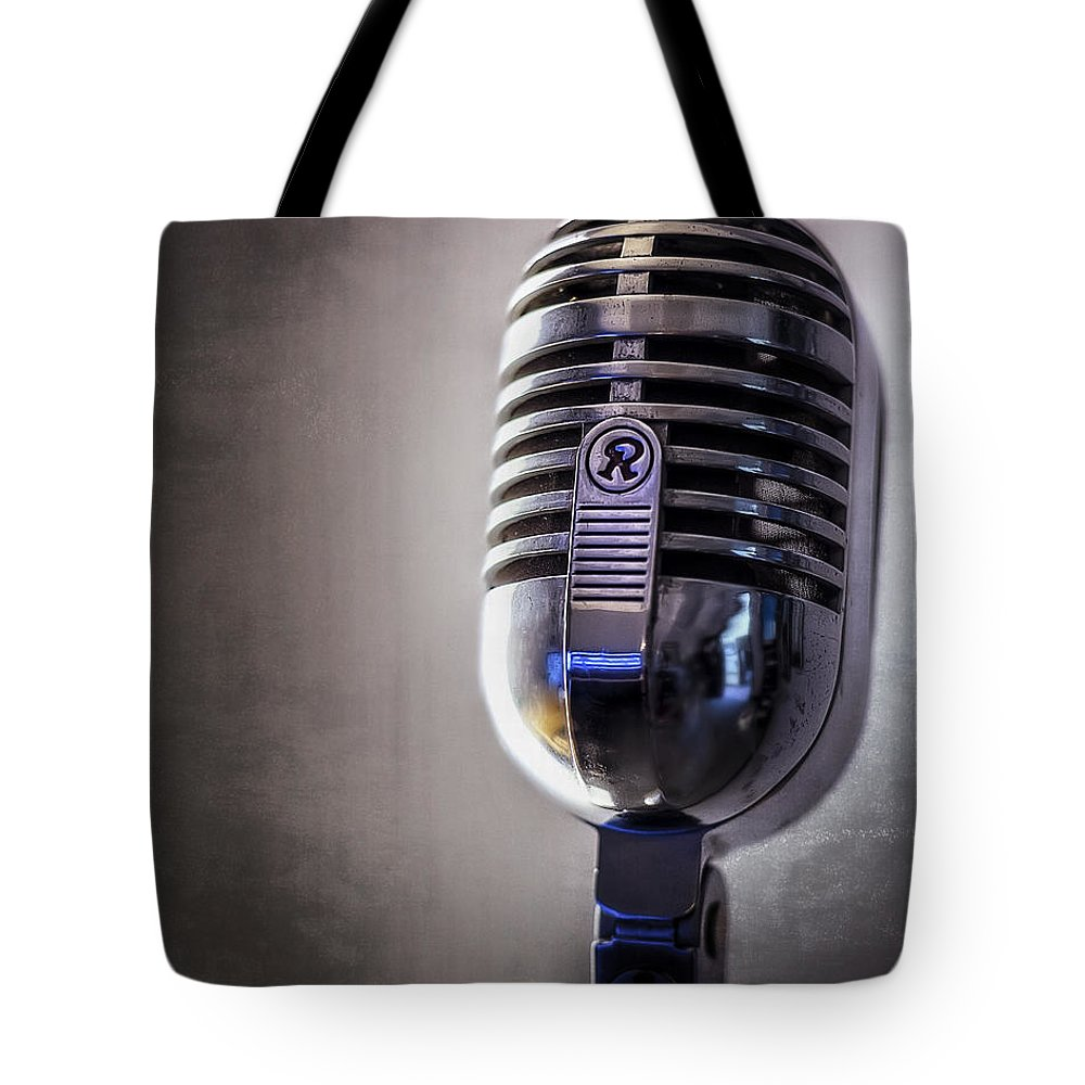 Mic Tote Bag featuring the photograph Vintage Microphone 2 by Scott Norris