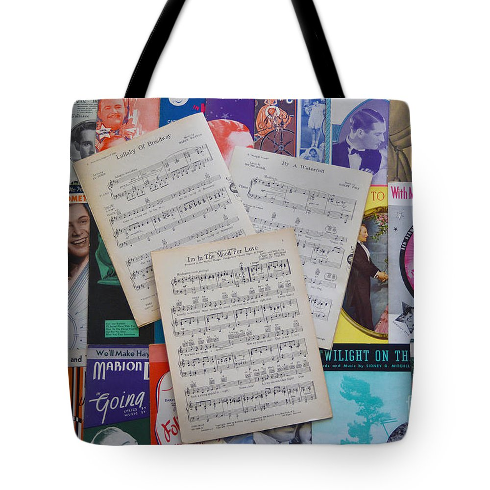 Music Sheets Tote Bag featuring the photograph Vintage Music Sheets No.2 by John Greco