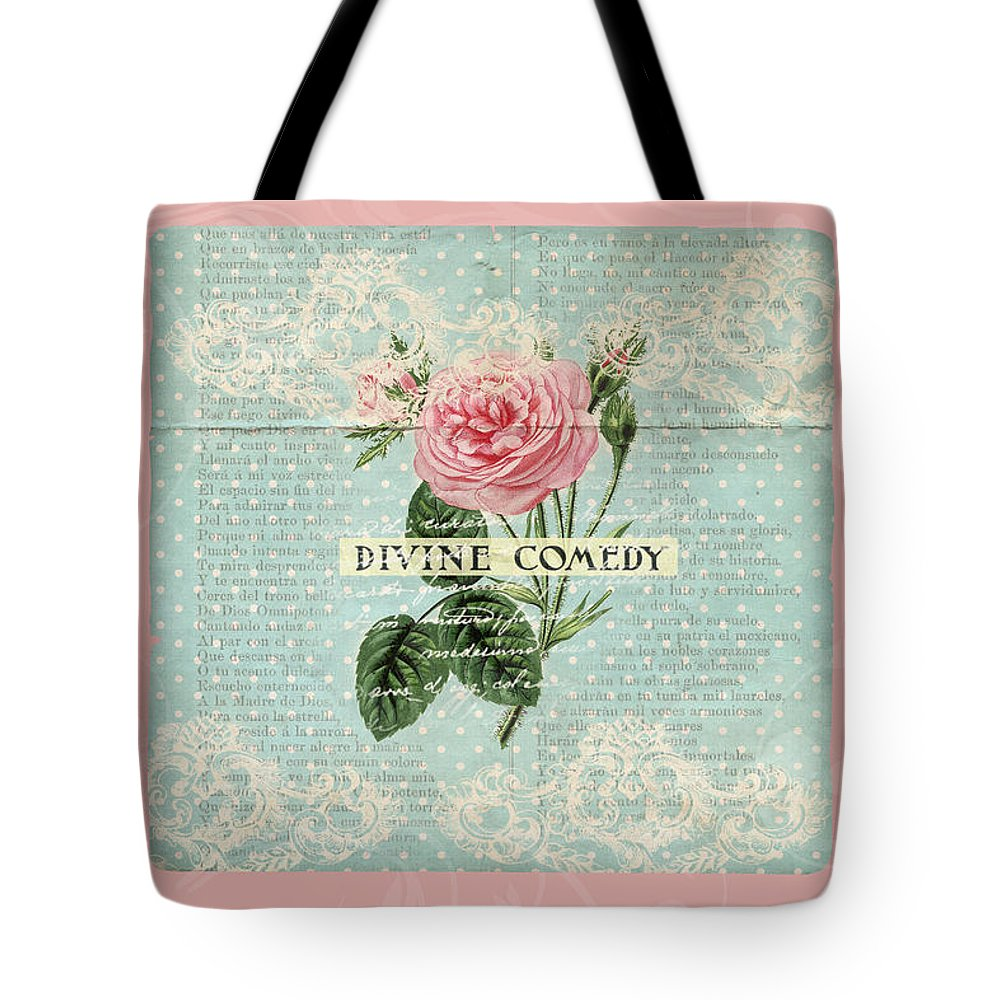 Vintage Tote Bag featuring the digital art Vintage Pink Roses by Peggy Collins