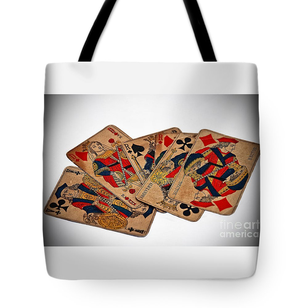 Aged Tote Bag featuring the photograph Vintage Playing Cards Art Prints by Valerie Garner
