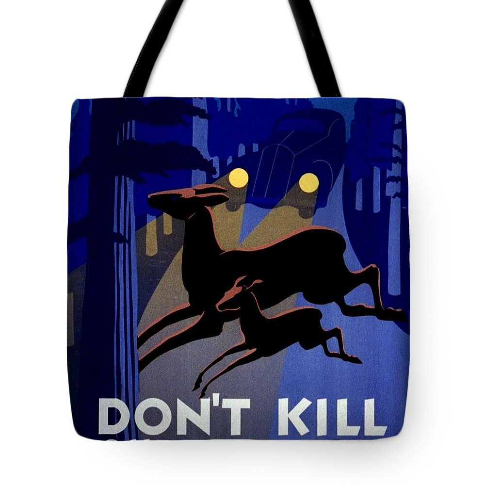 United States Tote Bag featuring the photograph Vintage Poster - Don't Kill Our Wild Life by Benjamin Yeager