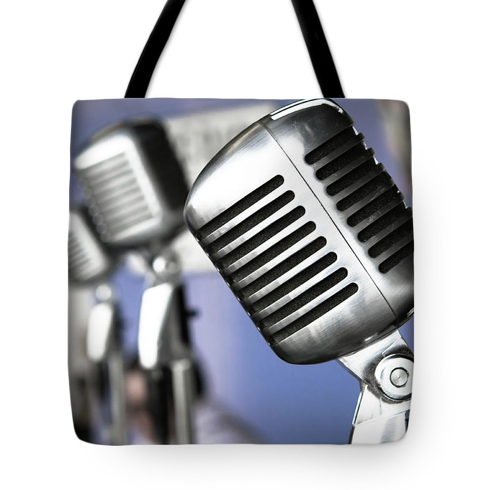 Music Tote Bag featuring the photograph Vintage Standing Radio Microphones by Photo By Brian T. Evans