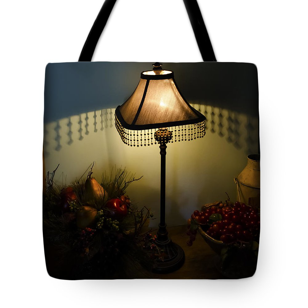Vintage Still Life And Lamp Tote Bag featuring the photograph Vintage Still Life And Lamp by Greg Reed