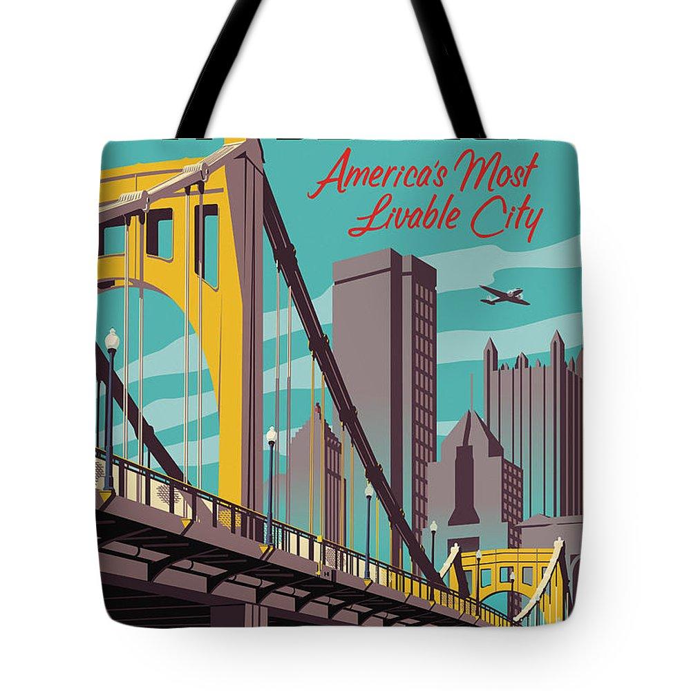 Pittsburgh Tote Bag featuring the digital art Pittsburgh Poster - Vintage Travel Bridges by Jim Zahniser