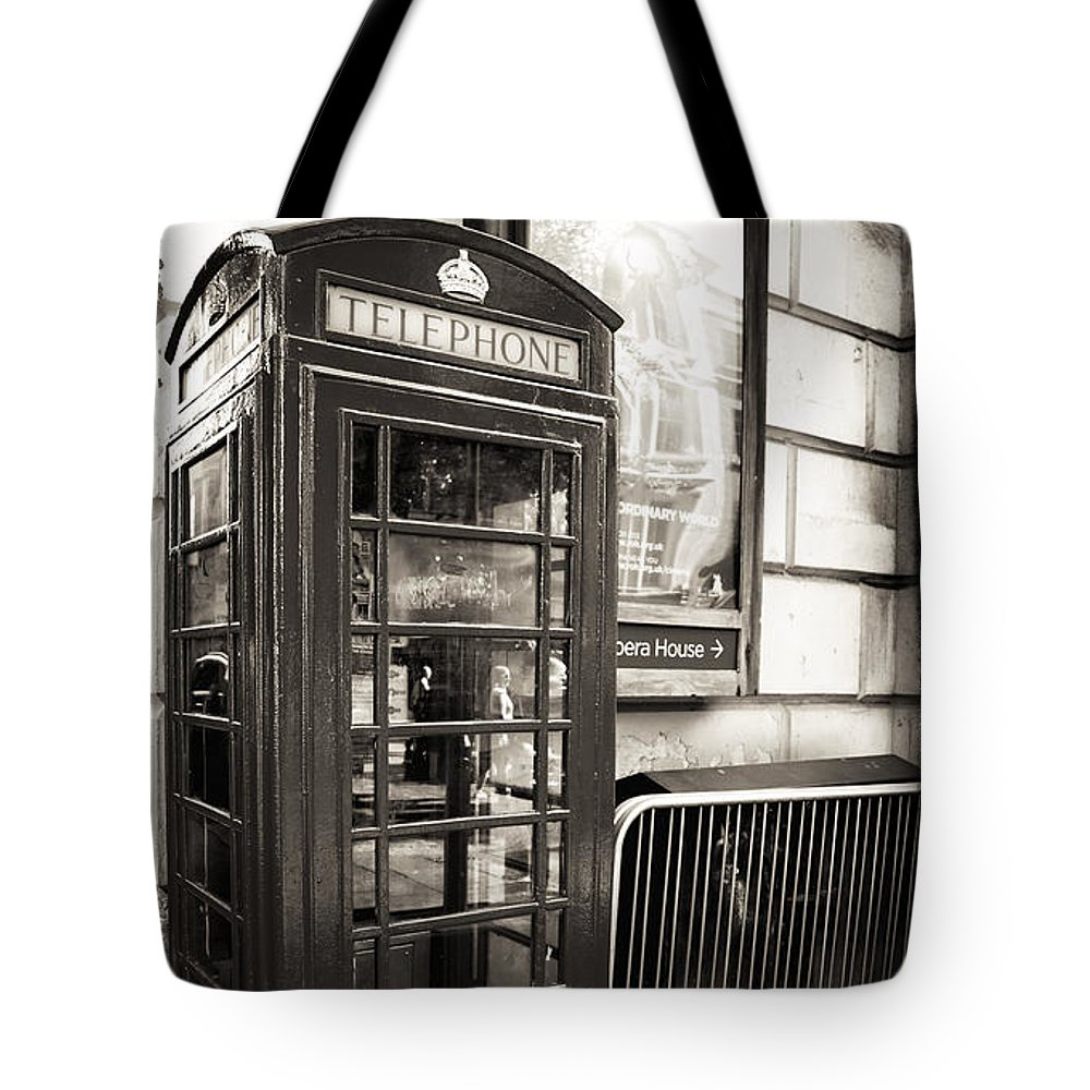 Vintage Telephone Booth Tote Bag featuring the photograph Vintage Telephone Booth by John Rizzuto