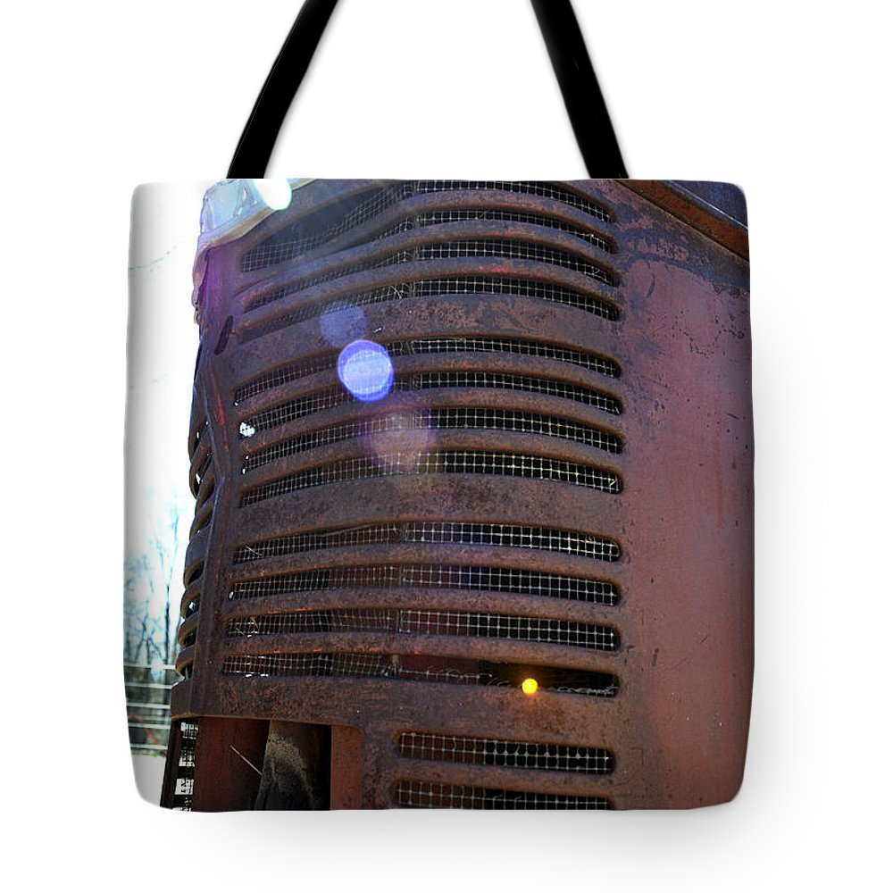 Tractor Tote Bag featuring the photograph Vintage Tractor by Pam Romjue