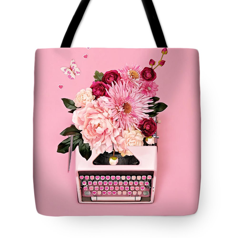 Typewriter Tote Bag featuring the photograph Vintage Typewriter With Flowers by Juj Winn
