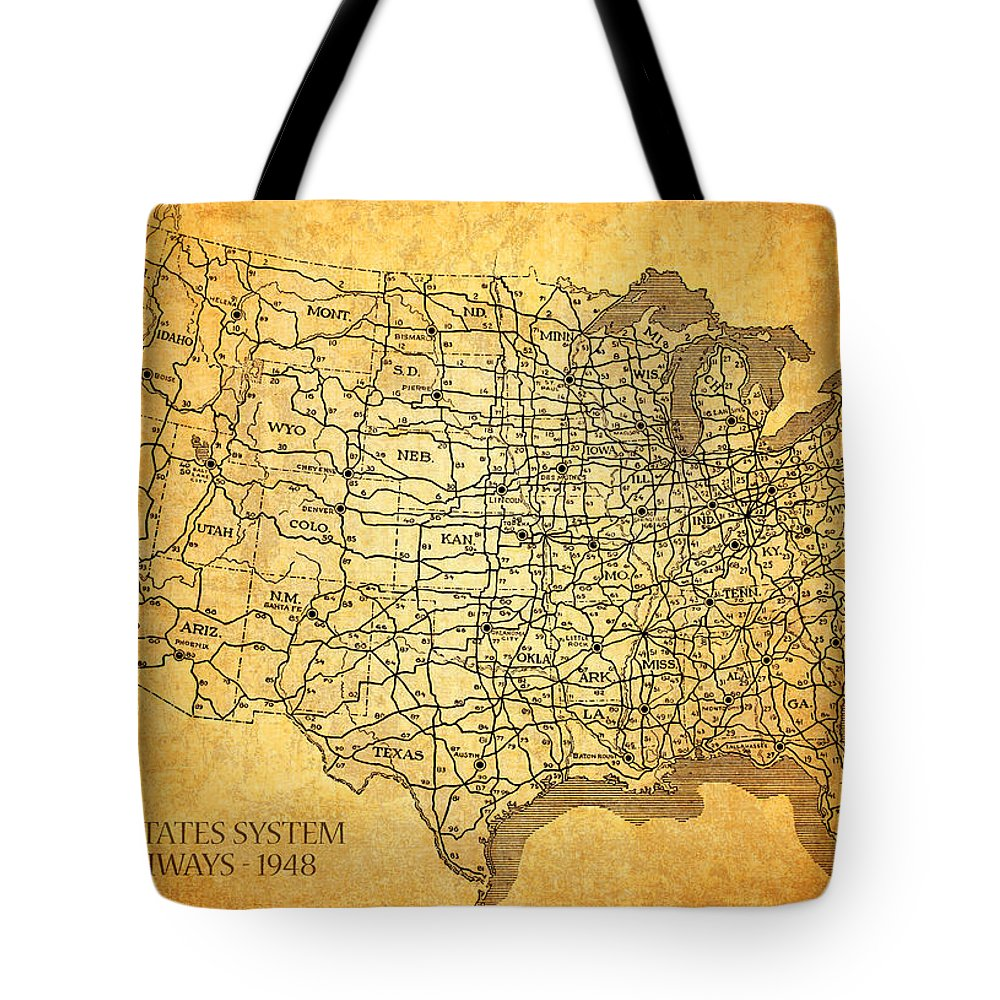 Vintage United States Highway System Map On Worn Canvas Tote Bag for ...