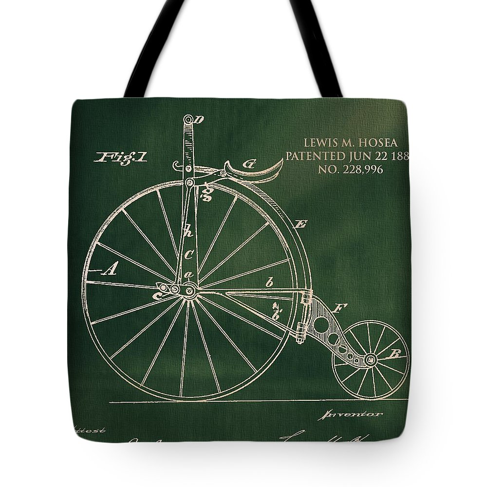 Pop Art Velocipede Patent Tote Bag featuring the drawing Vintage Velocipede Patent by Dan Sproul
