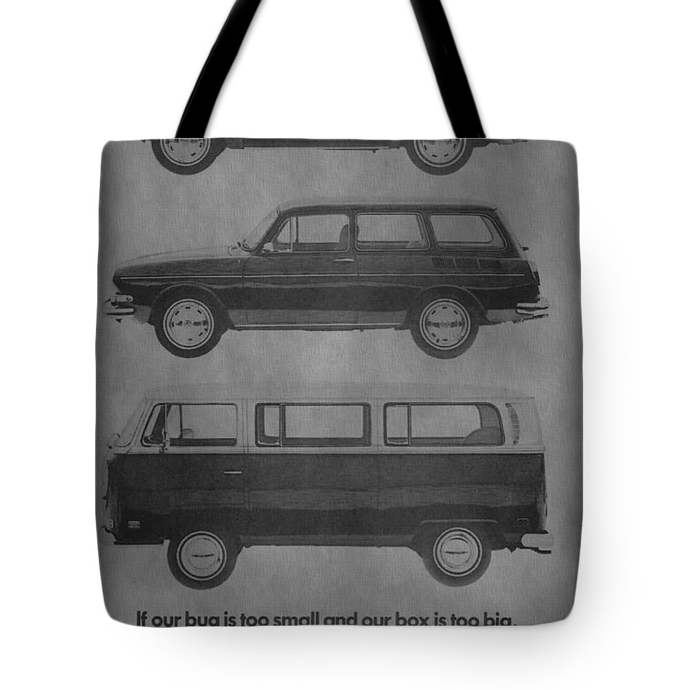 Vintage Volkswagen Ad 1971 Tote Bag featuring the mixed media Vintage Volkswagen Ad 1971 by Dan Sproul