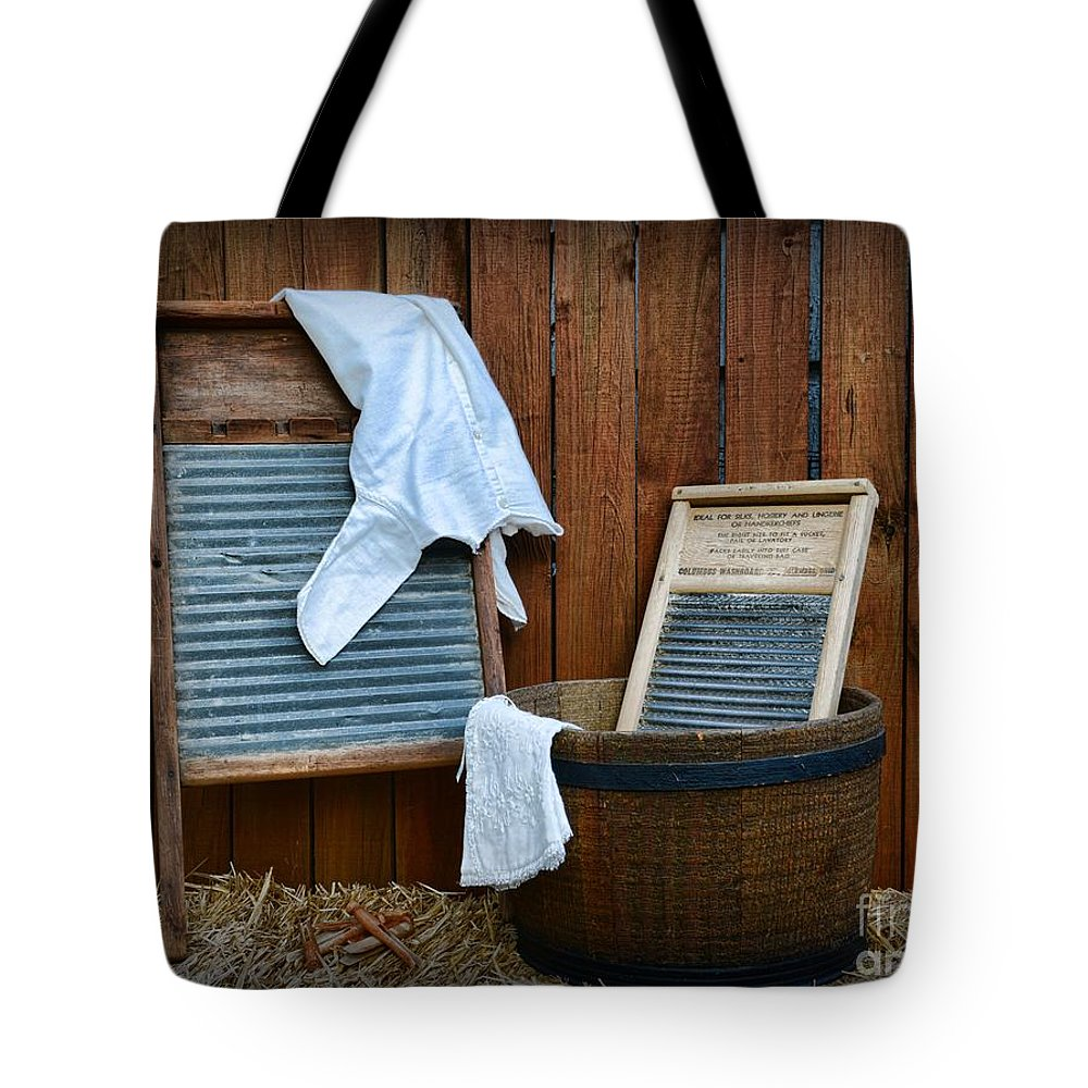 Paul Ward Tote Bag featuring the photograph Vintage Washboard Laundry Day by Paul Ward