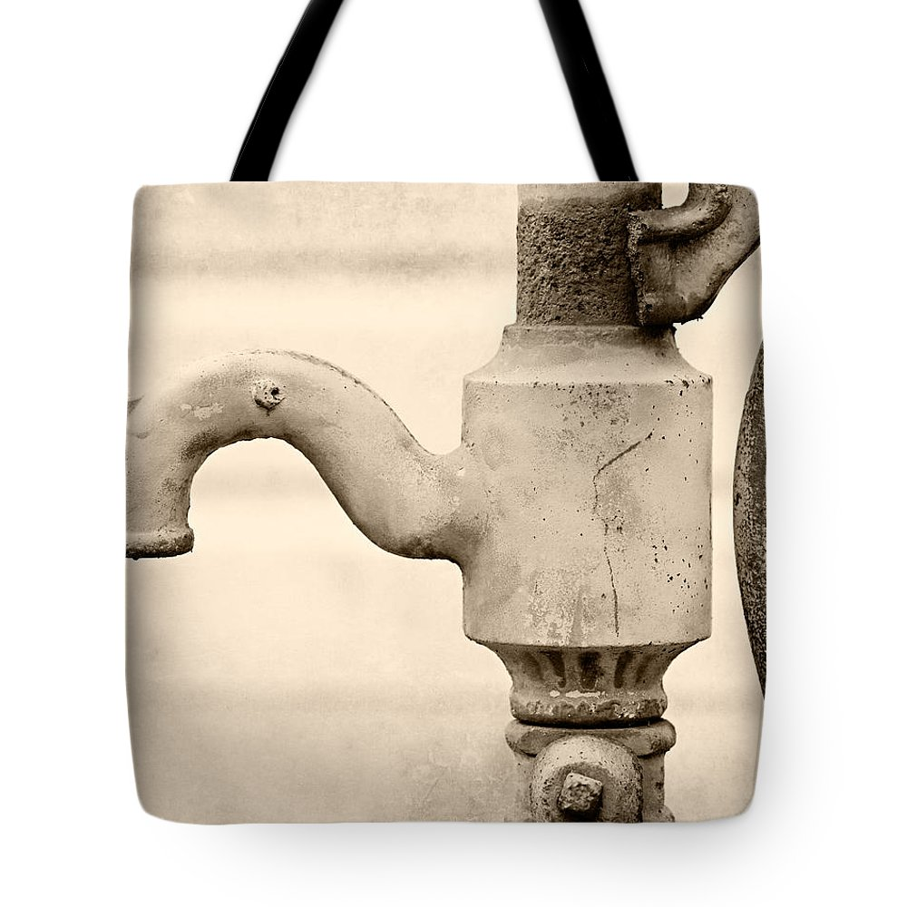 Vintage Water Pump Faucet In Sepia Tote Bag for Sale by Lisa Russo