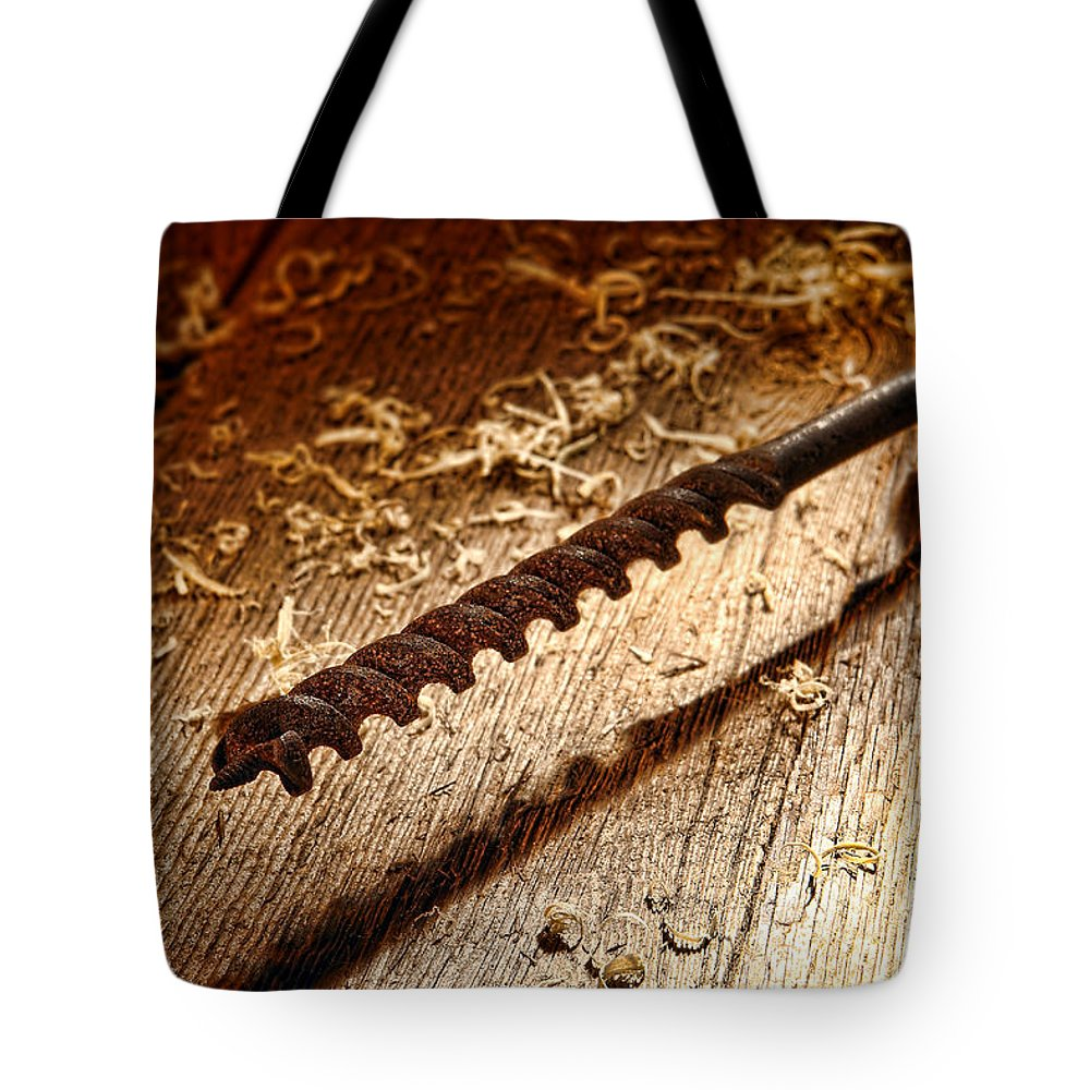 Drill Tote Bag featuring the photograph Vintage Wood Drill by Olivier Le Queinec