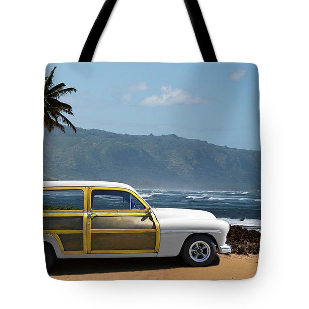 Haleiwa Tote Bag featuring the photograph Vintage Woody On Hawaiian Beach by Ed Freeman