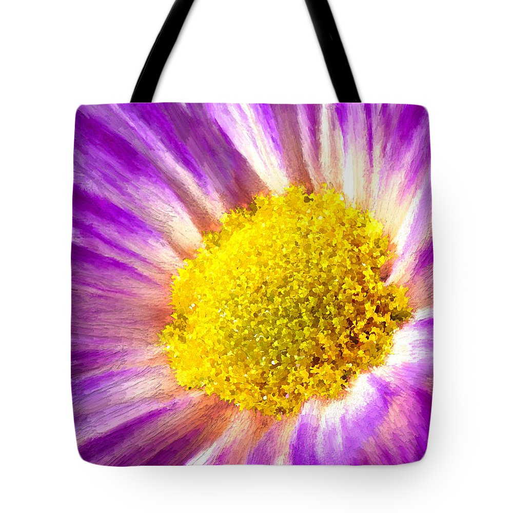 Violet Tote Bag featuring the painting Violet Flower Macro by Bruce Nutting