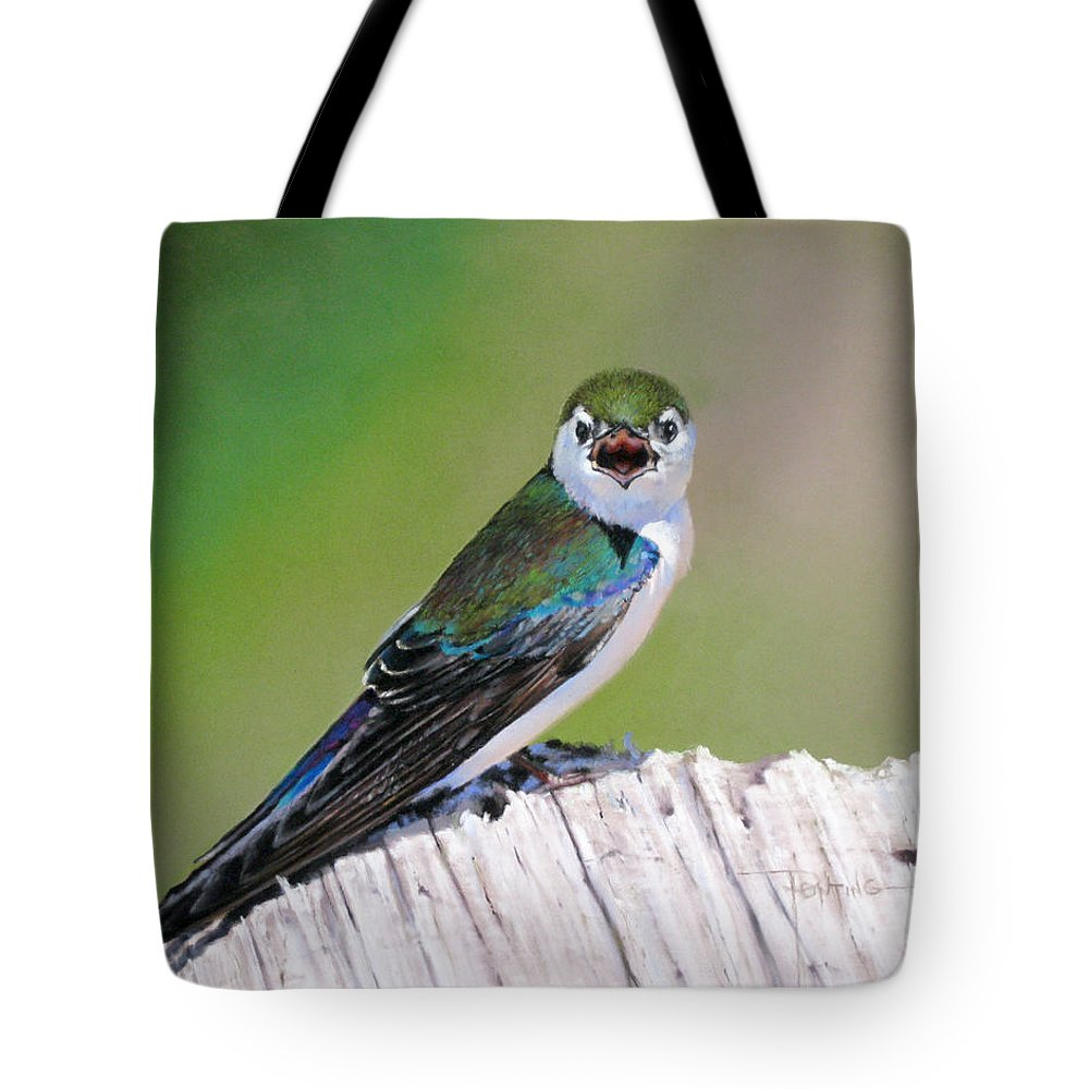 Birds Tote Bag featuring the painting Violet Green Swallow by Dianna Ponting
