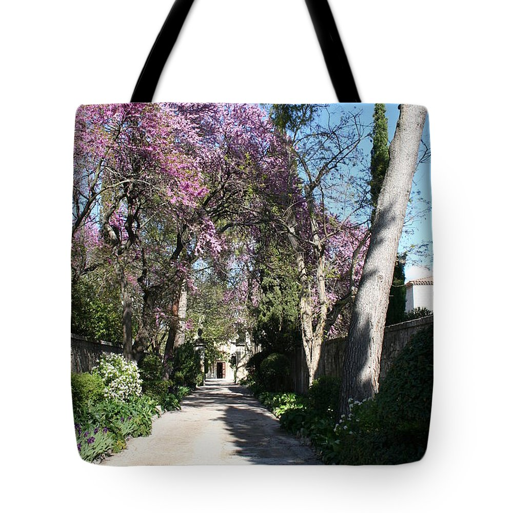 Alley Tote Bag featuring the photograph Violet Tree Alley by Christiane Schulze Art And Photography
