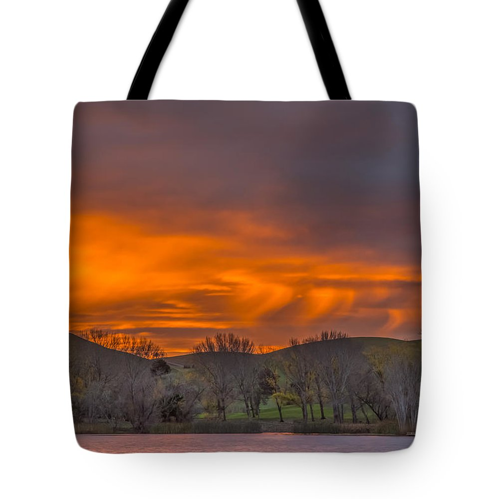 Landscape Tote Bag featuring the photograph Virga At Sunrise by Marc Crumpler