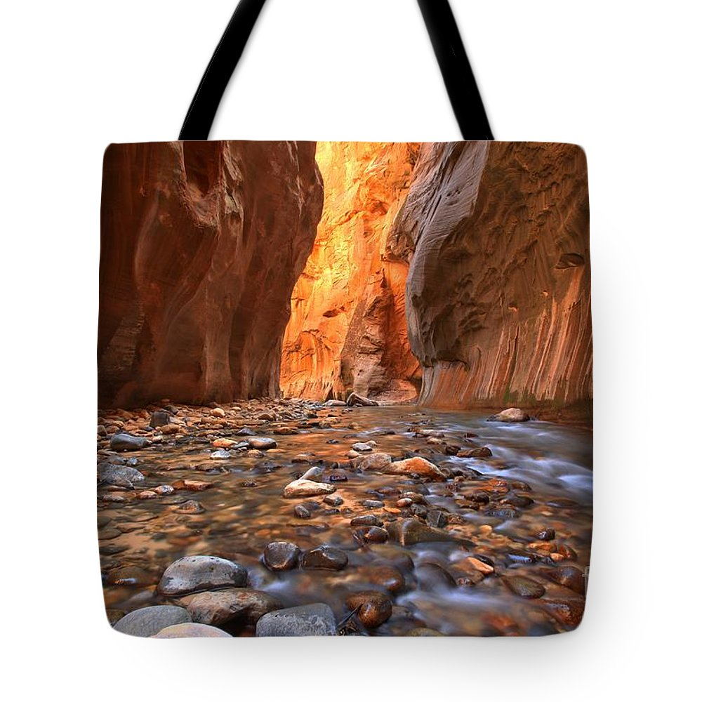 Zion Narrows Tote Bag featuring the photograph Virgin River Rocks by Adam Jewell