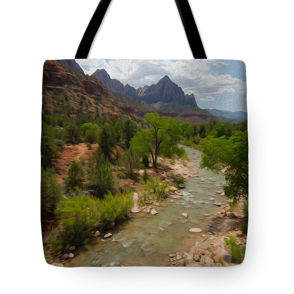 Virgin River Tote Bag featuring the photograph Virgin River Through Zion National Park by Tracy Winter