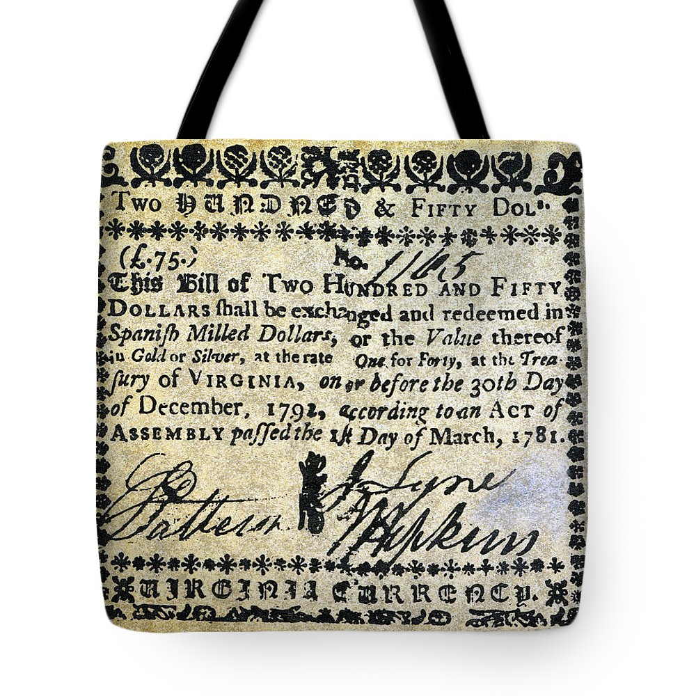 1781 Tote Bag featuring the photograph Virginia Banknote, 1781 by Granger