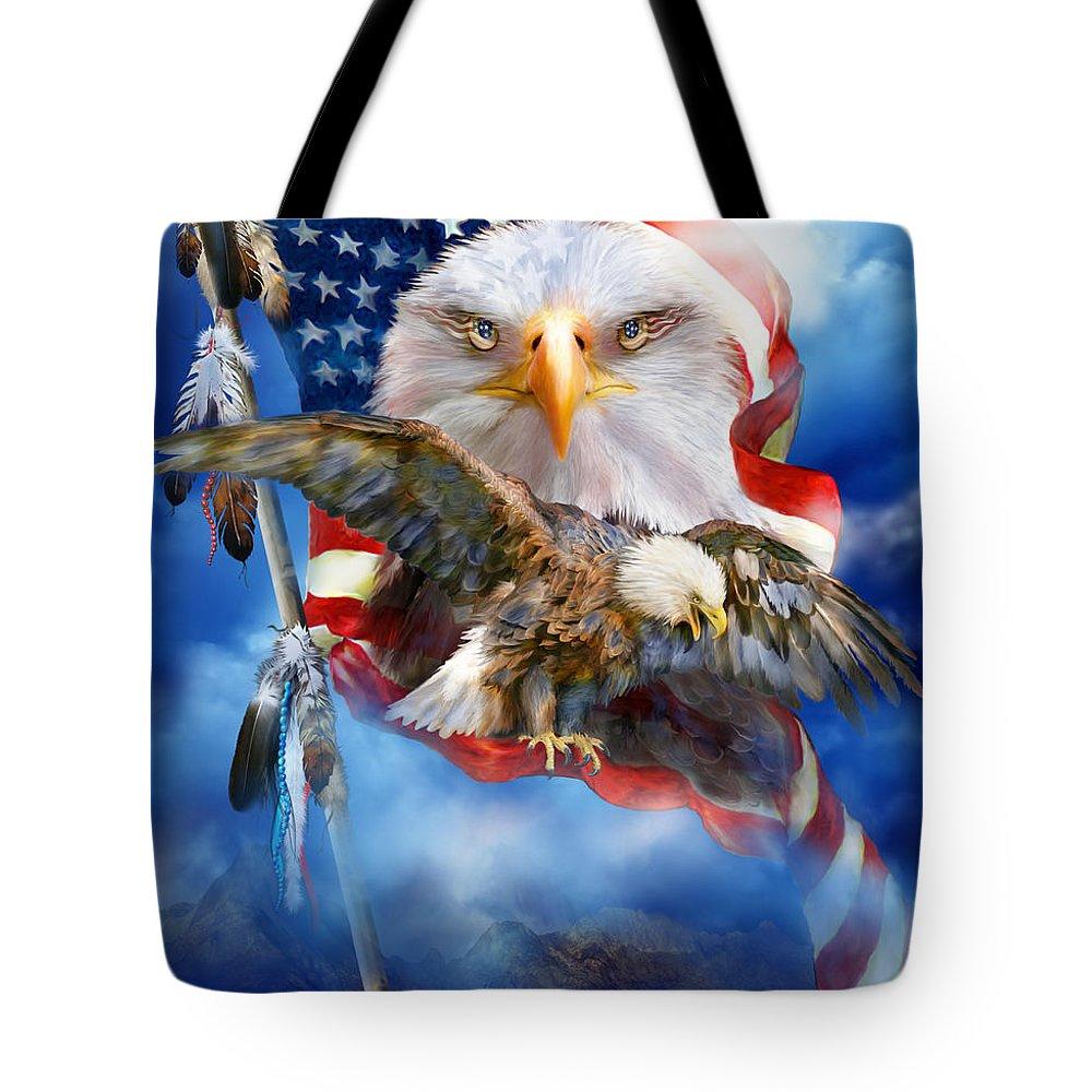 Carol Cavalaris Tote Bag featuring the mixed media Vision Of Freedom by Carol Cavalaris