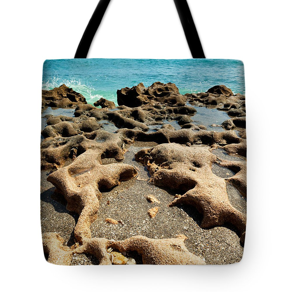 Blowing Rocks Tote Bag featuring the photograph Visions Of Long Ago At Blowing Rocks by Michelle Constantine