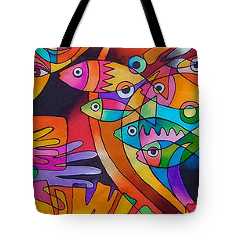 Fiji Tote Bag featuring the painting Viti Tolu - Fiji IIi by Maria Rova