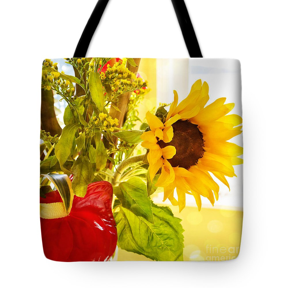 Sunflower Tote Bag featuring the photograph Vivid Cheery Sunflower Bouquet by Maria Janicki