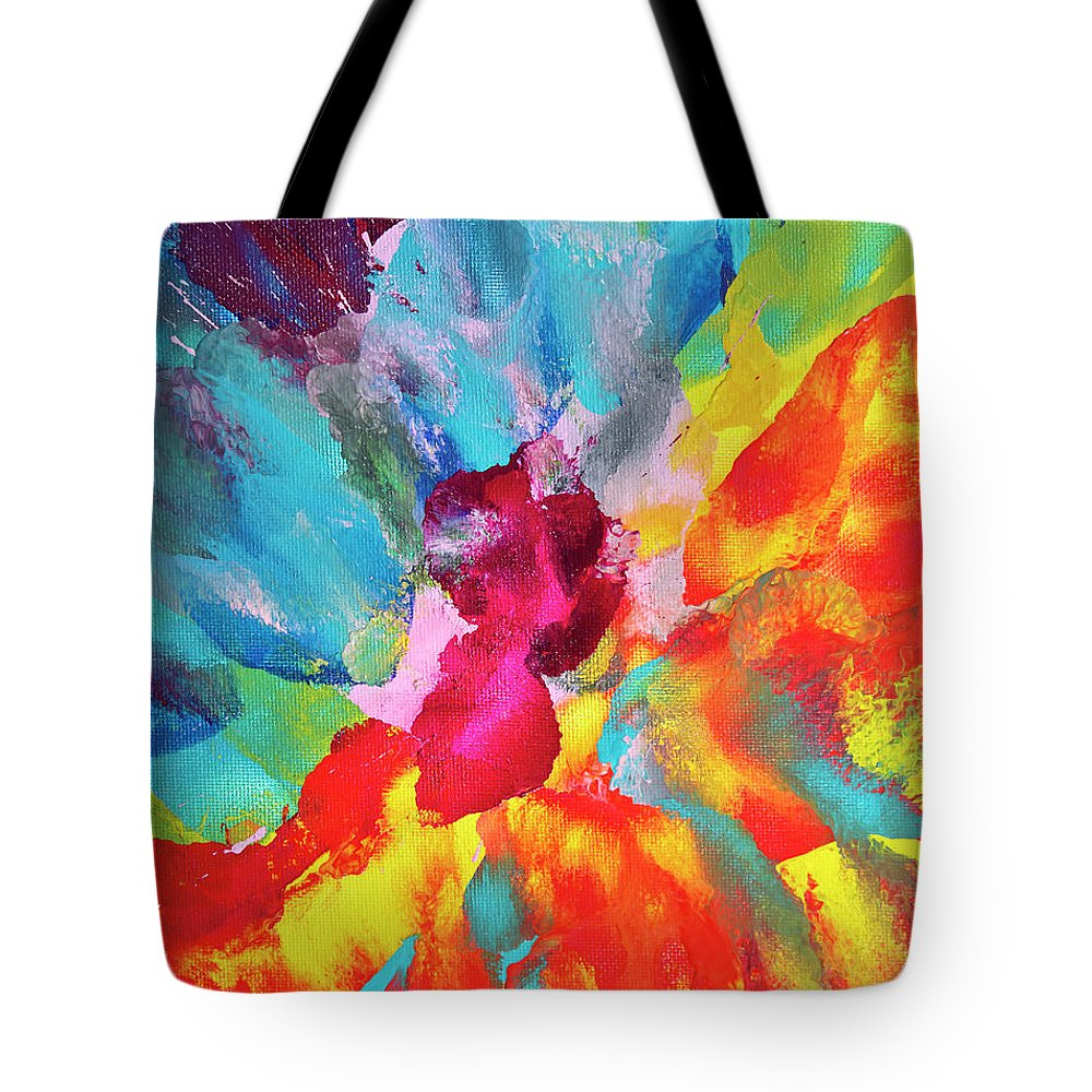 Art Tote Bag featuring the digital art Vivid Multicolored Abstract Art On by Cstar55