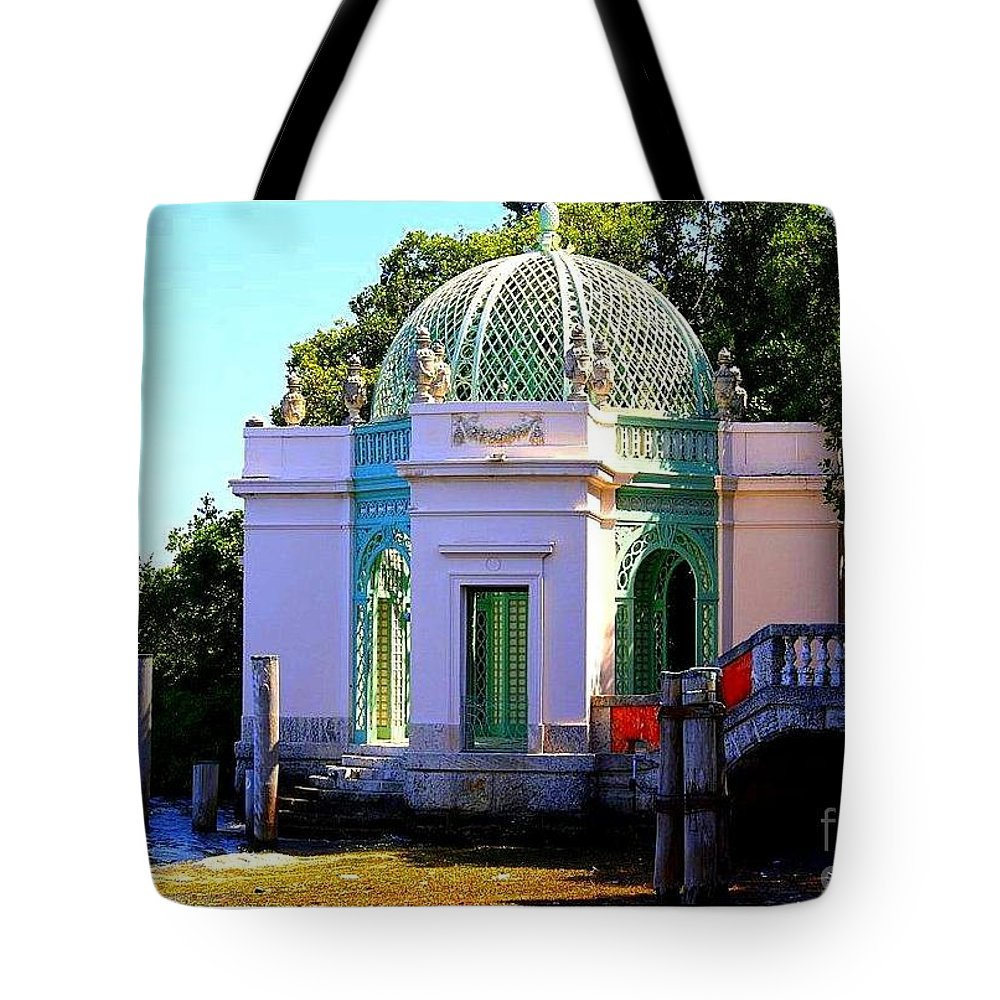 Vizcaya By The Pier Tote Bag featuring the photograph Vizcaya By The Pier by Dora Sofia Caputo Photographic Design and Fine Art