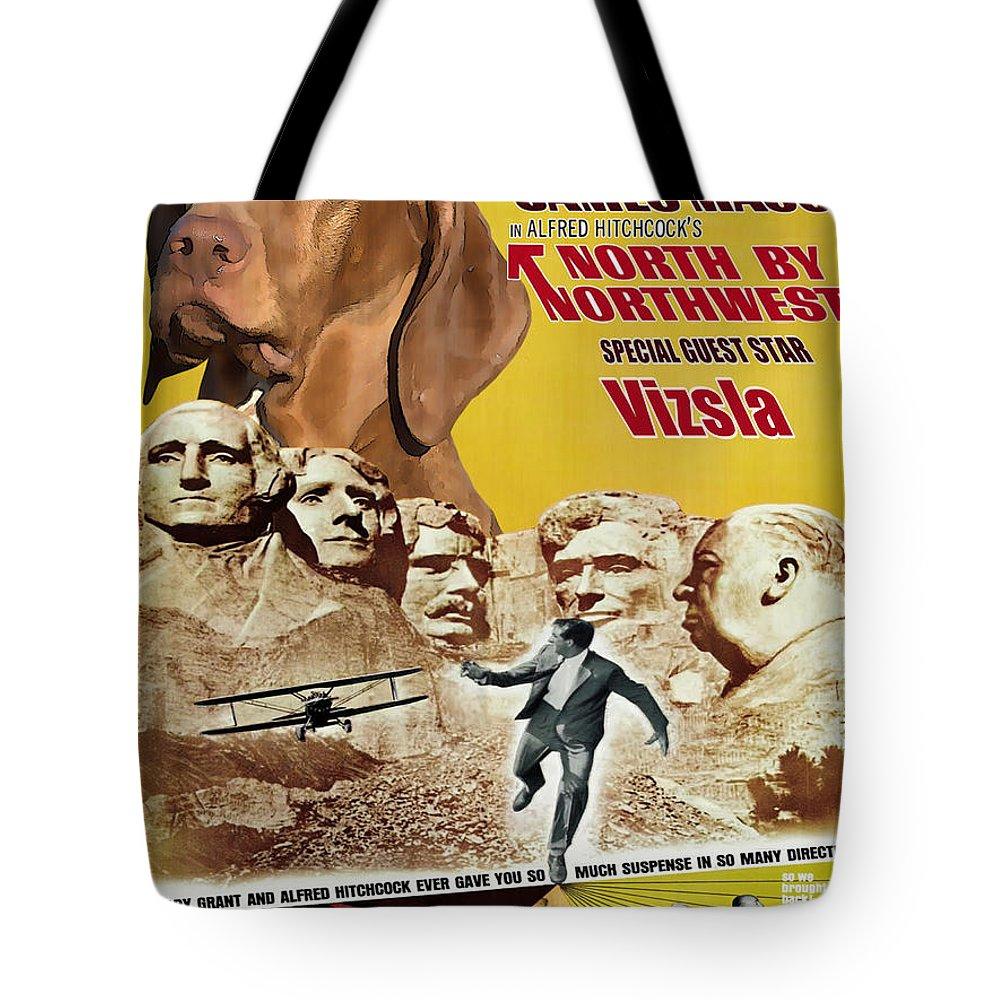 Vizsla Tote Bag featuring the painting Vizsla Art Canvas Print - North By Northwest Movie Poster by Sandra Sij