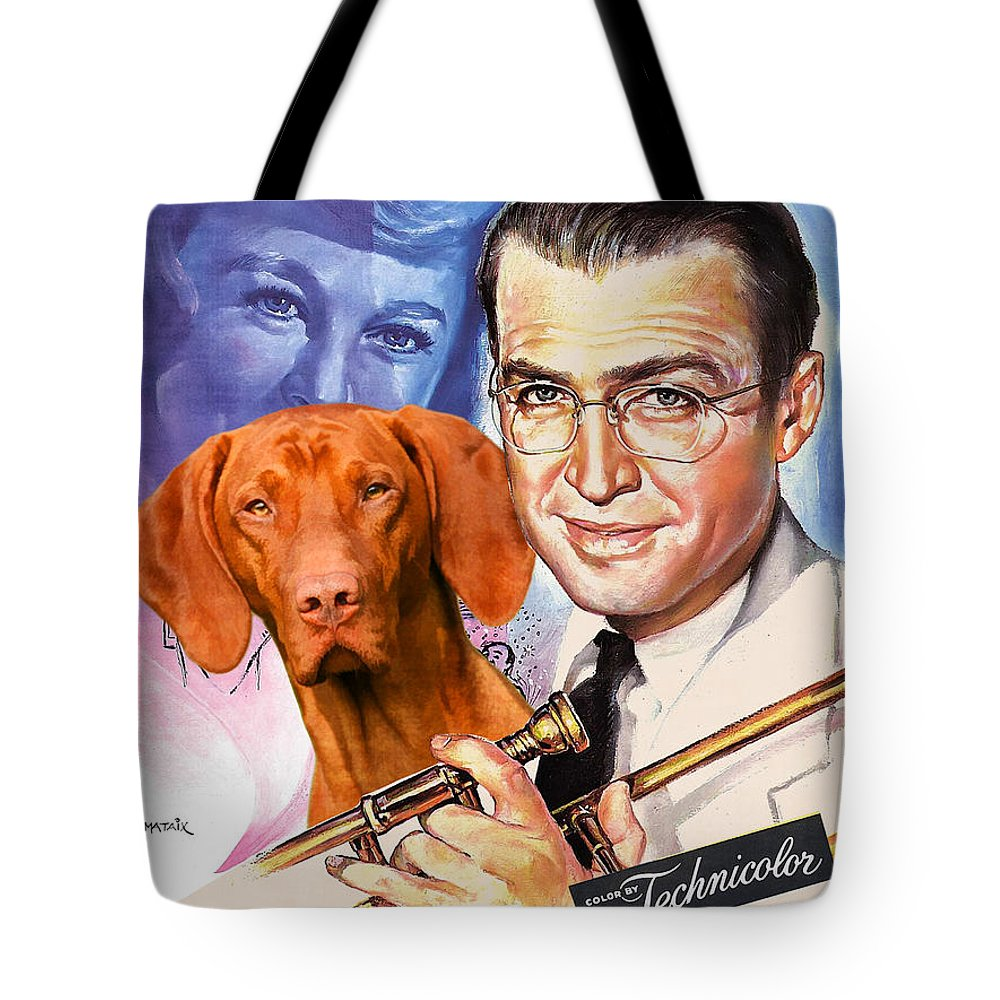 Vizsla Tote Bag featuring the painting Vizsla Art Canvas Print - The Glenn Miller Story Movie Poster by Sandra Sij