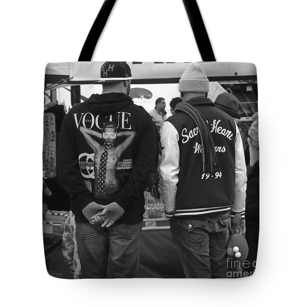 Black And White Tote Bag featuring the photograph Vogue And Sacred Heart by Jeff Breiman