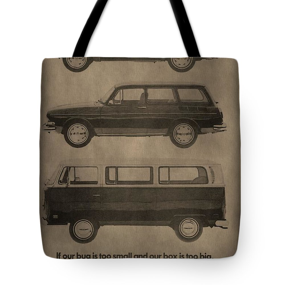 Vintage Volkswagen Ad 1971 Tote Bag featuring the mixed media Volkswagen Advertisement by Dan Sproul