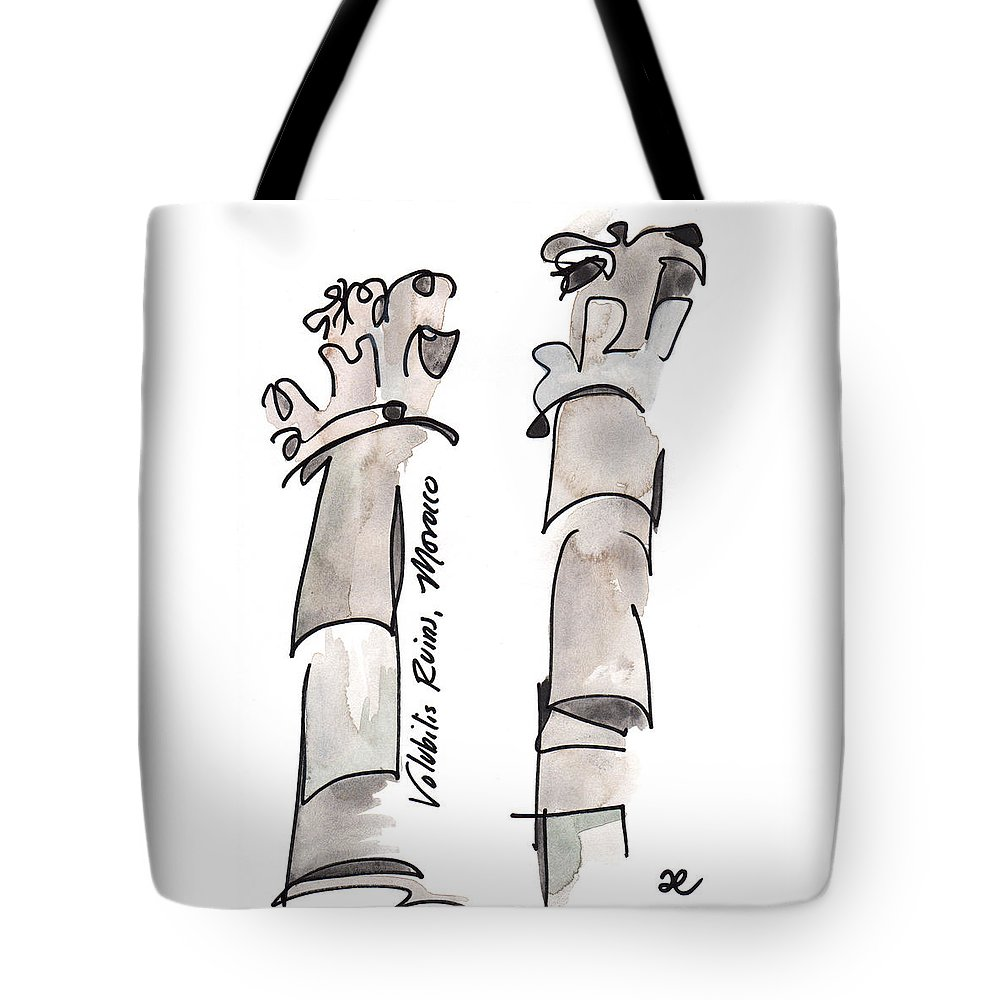 Art Tote Bag featuring the painting Volubilis Ruins by Anna Elkins