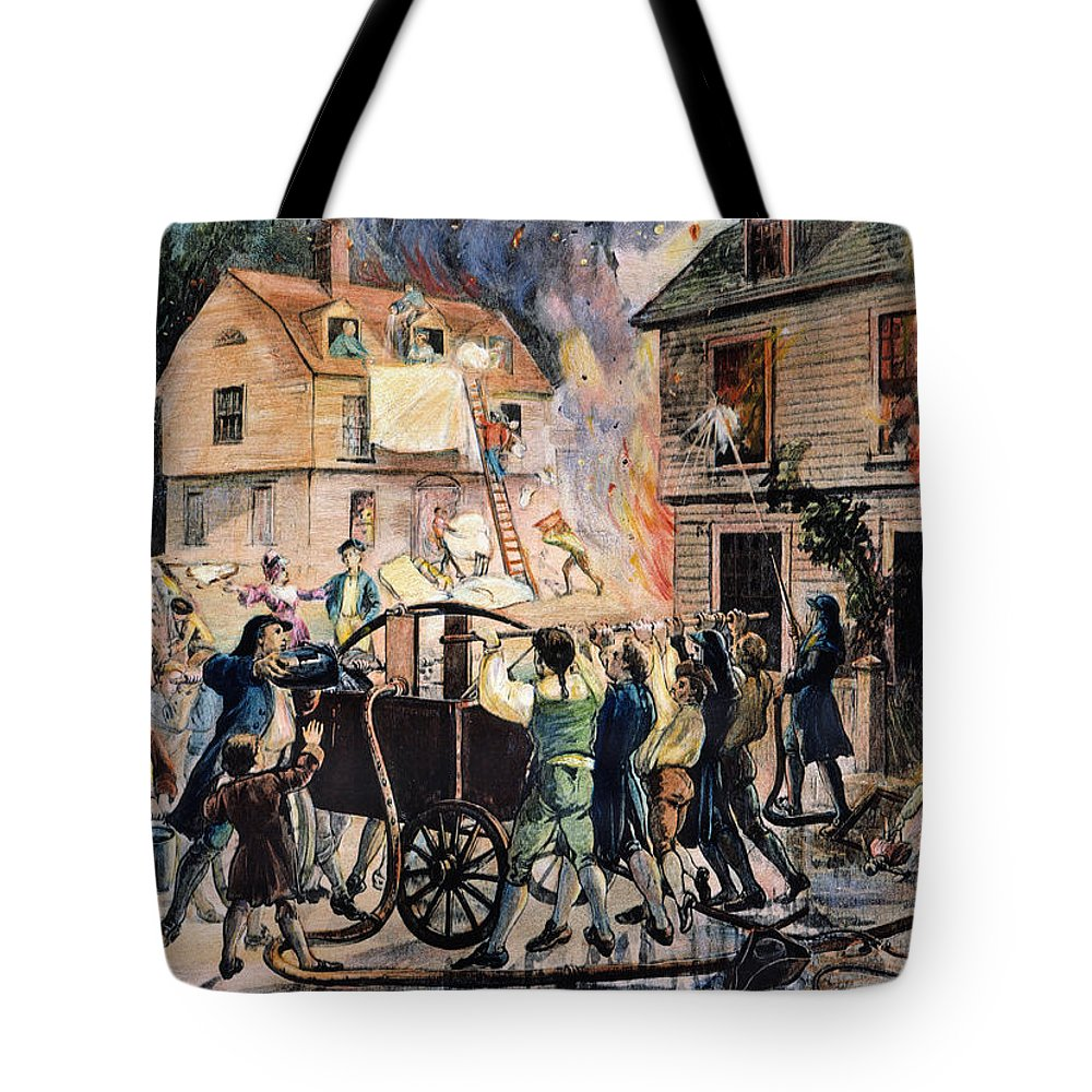 18th Century Tote Bag featuring the photograph Volunteer Firefighters by Granger