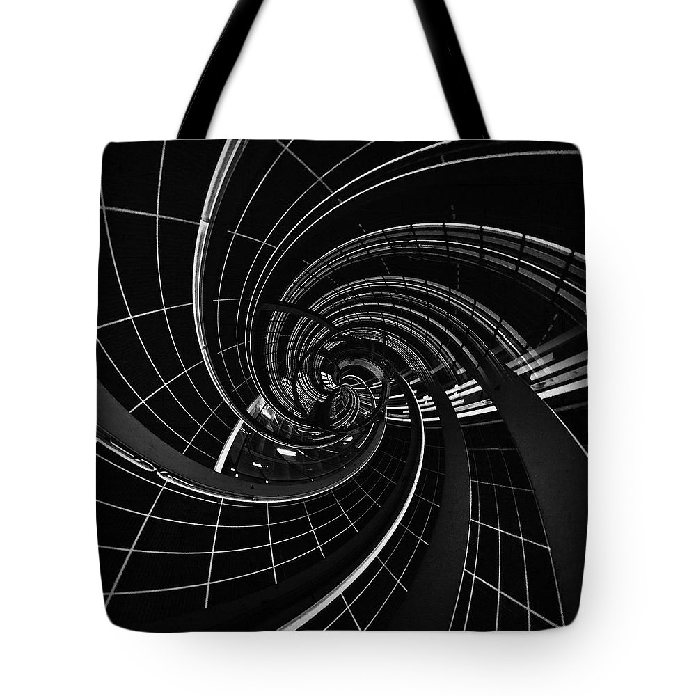 Black And White Tote Bag featuring the photograph Vortex 5 by Mark David Gerson