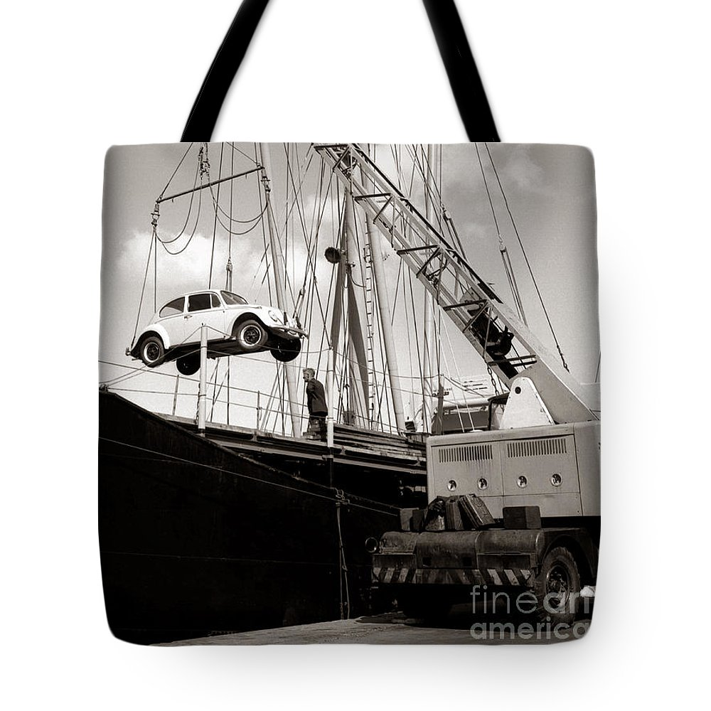 Hart Photography Tote Bag featuring the photograph Vw Beetle, Ramsgate - 1960's  Ref-501 by Hart Photography Ltd