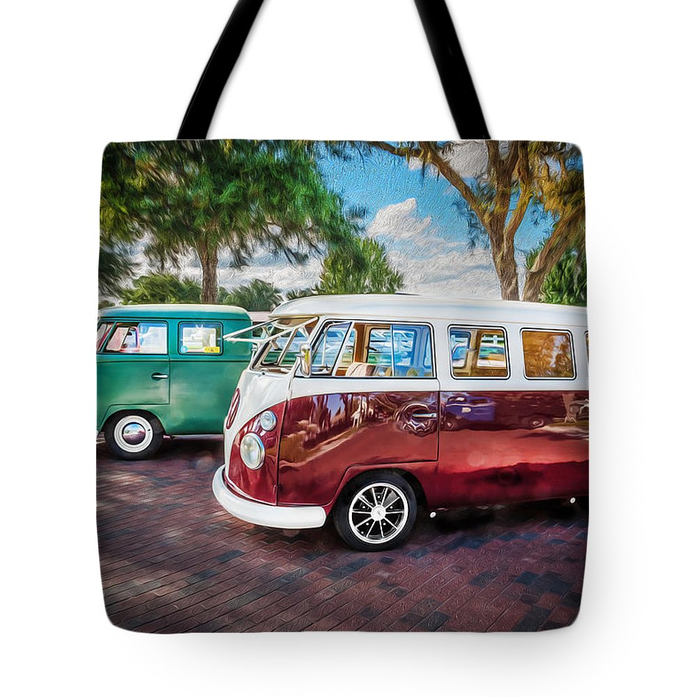 c7d5bbdc8db Flatbed Pickup Truck Tote Bag featuring the photograph Vw Bus Stop 1964  1961 1968 Vans Trucks