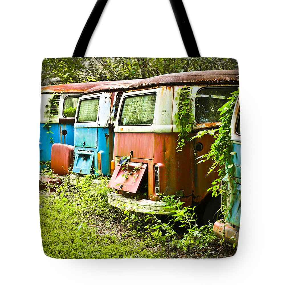Volkswagen Tote Bag featuring the photograph Vw Buses by Carolyn Marshall