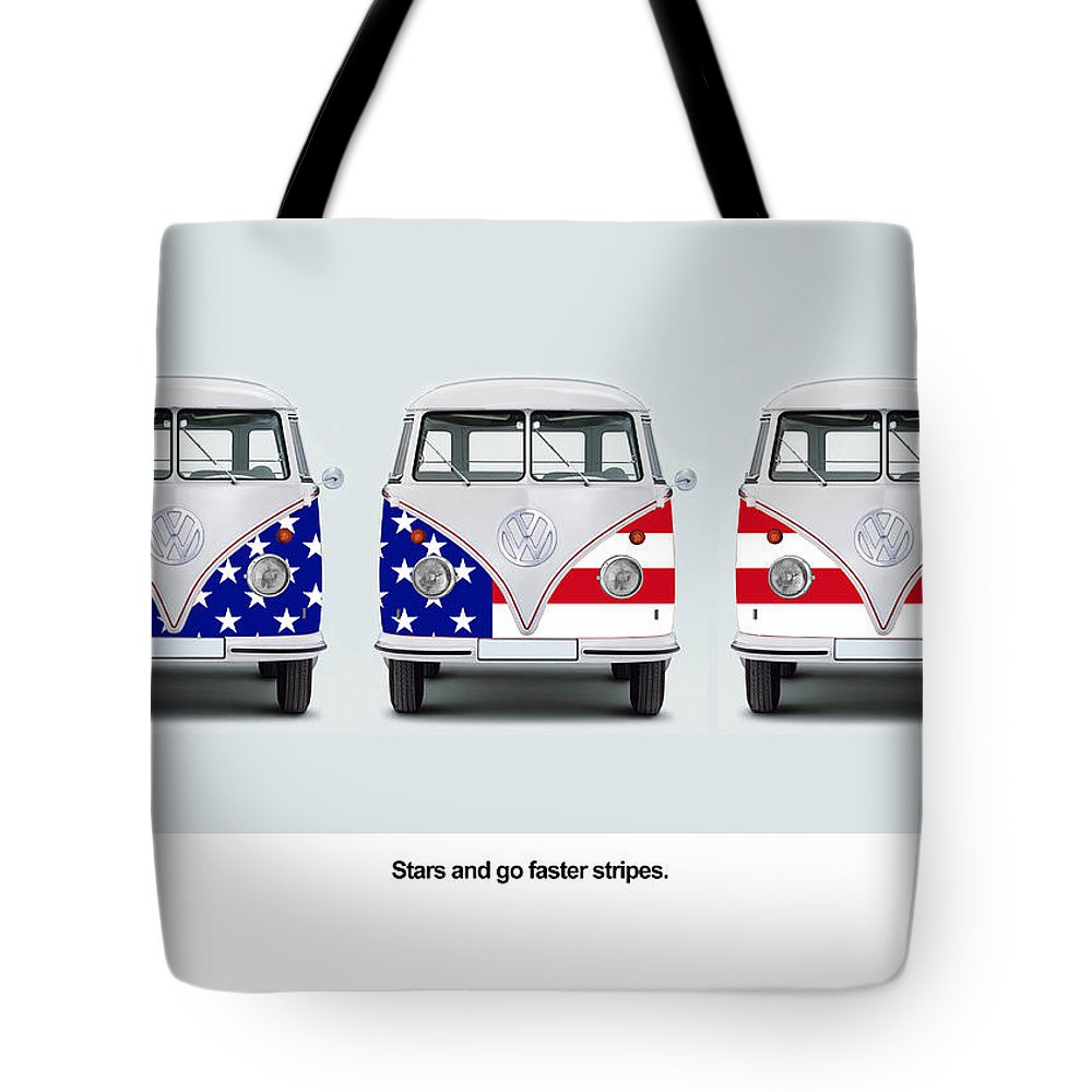Vw Tote Bag featuring the photograph Vw Go Faster Stripes by Mark Rogan