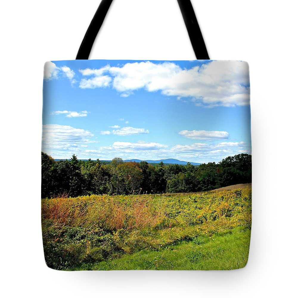 Landscape Tote Bag featuring the photograph Wachusett Mountain From Tower Hill by Michael Saunders