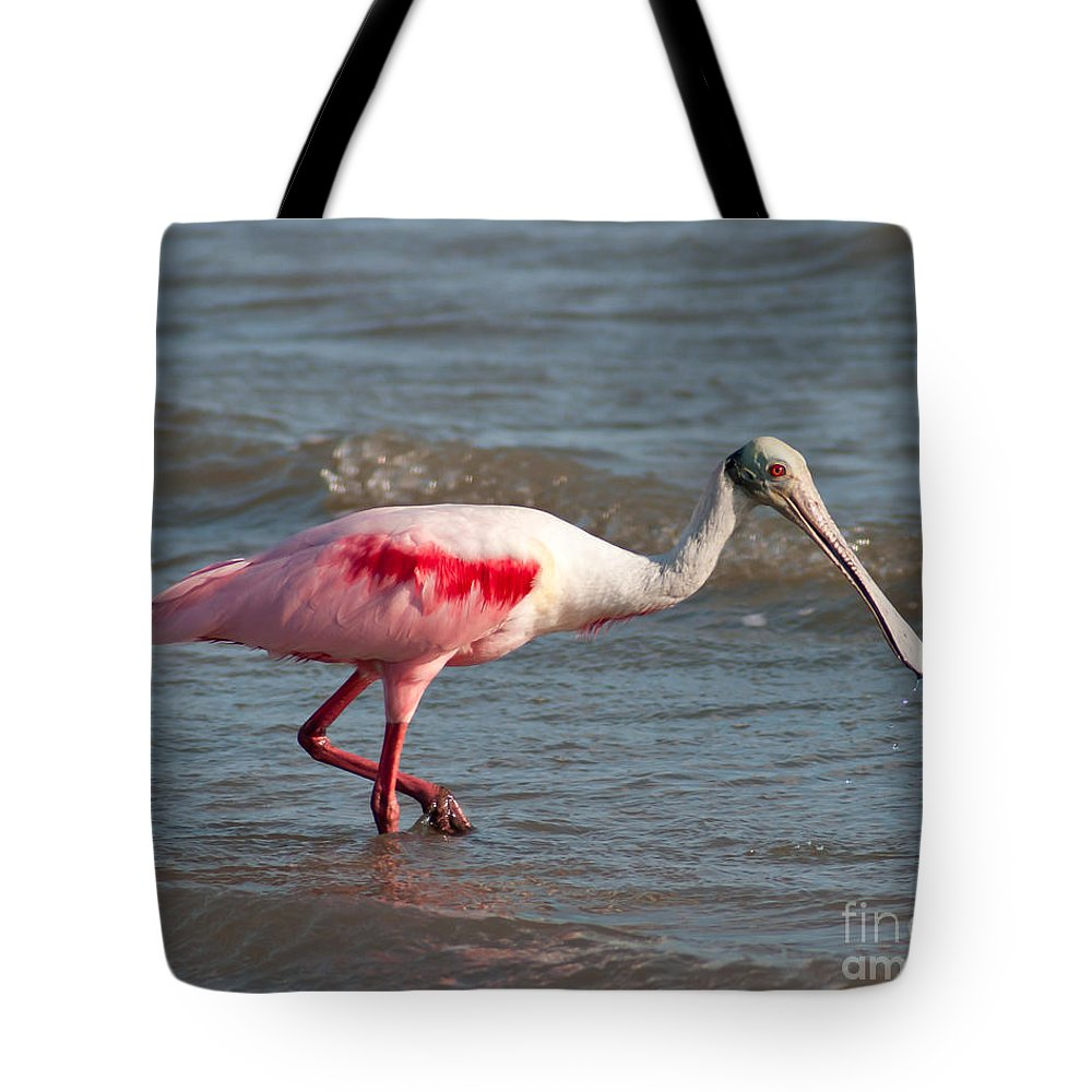 Roseate Spoonbill Tote Bag featuring the photograph Wading Spoonbill by Stephen Whalen