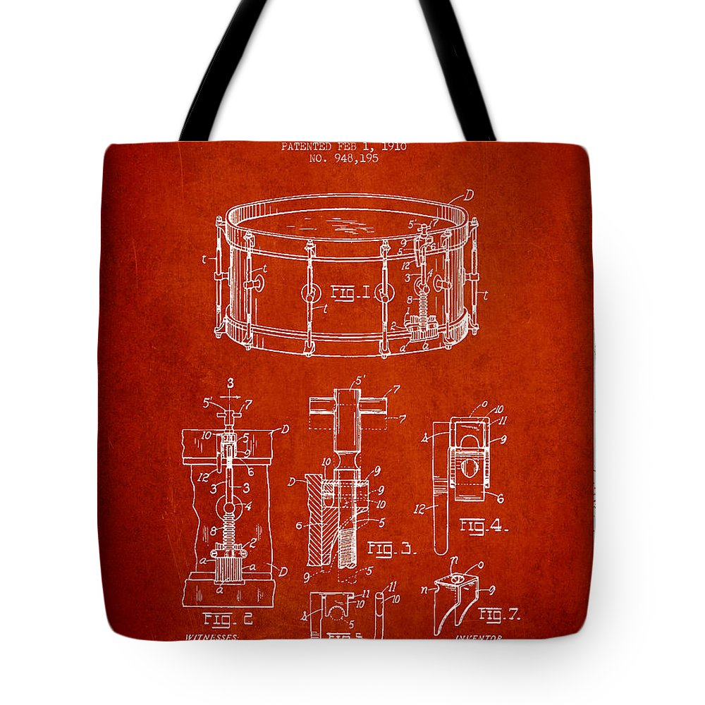 Snare Drum Tote Bag featuring the digital art Waechtler Snare Drum Patent Drawing From 1910 - Red by Aged Pixel