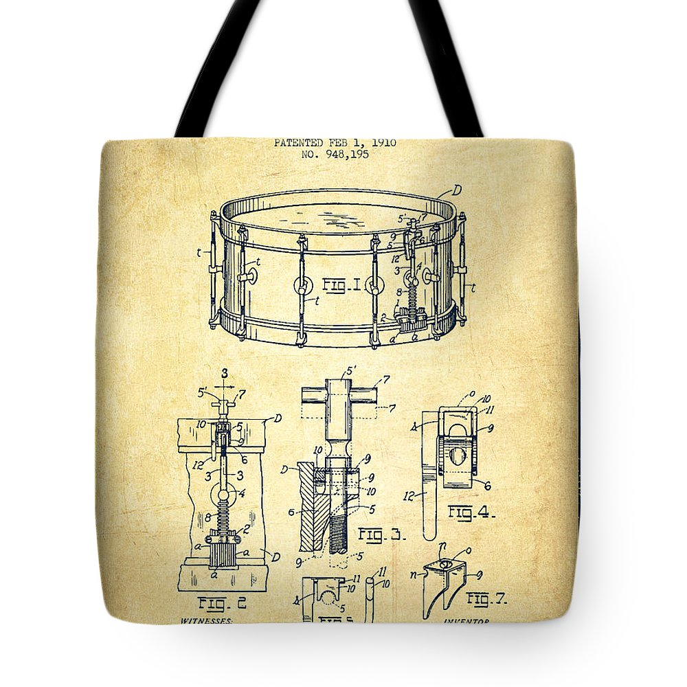 Snare Drum Tote Bag featuring the digital art Waechtler Snare Drum Patent Drawing From 1910 - Vintage by Aged Pixel