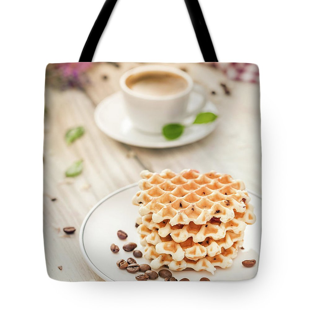 Breakfast Tote Bag featuring the photograph Waffles With Coffee by Da-kuk