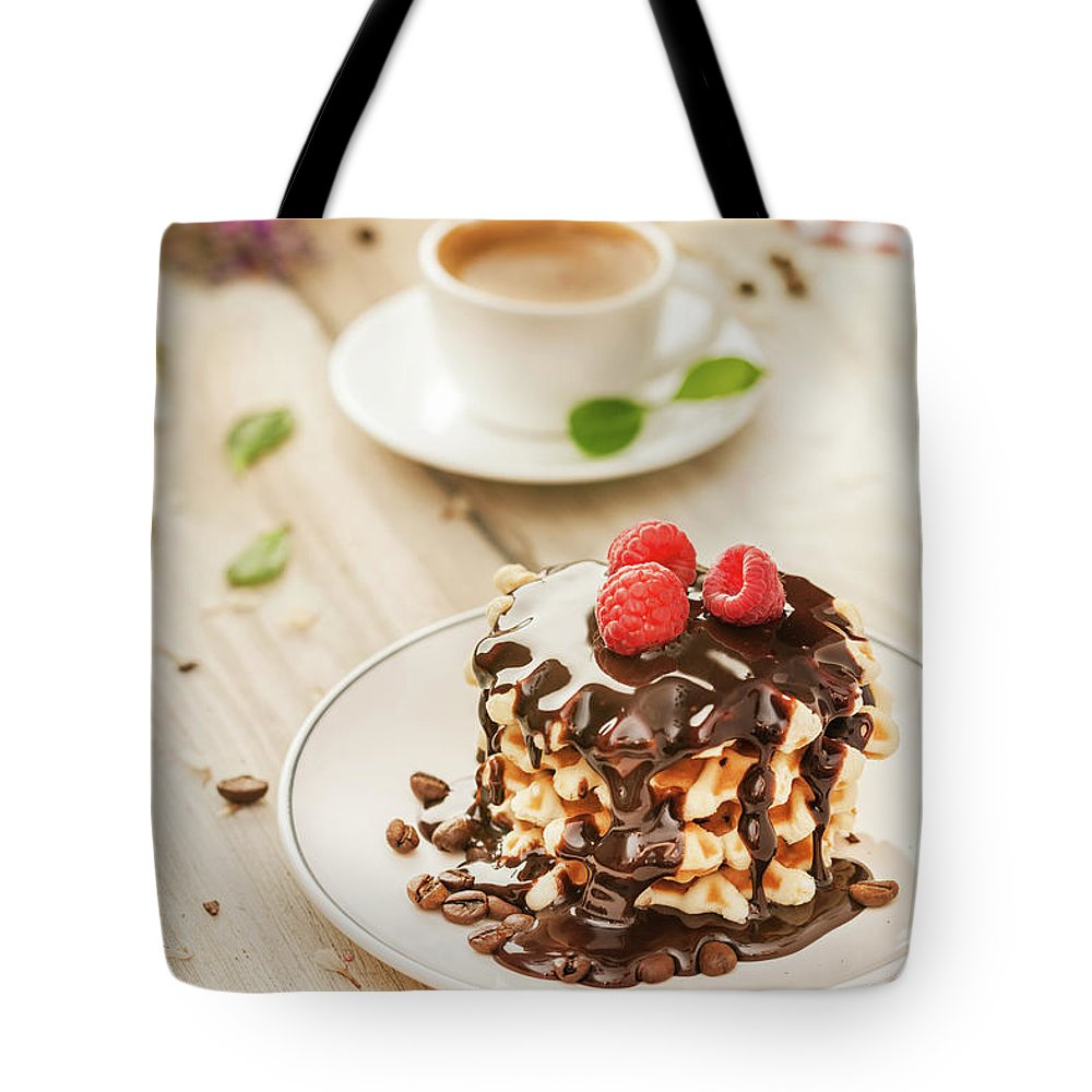 Breakfast Tote Bag featuring the photograph Waffles With Raspberry, Chocolate Sauce by Da-kuk