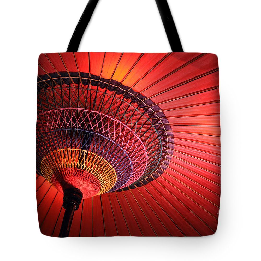 Japanese Tote Bag featuring the photograph Wagasa by Delphimages Photo Creations